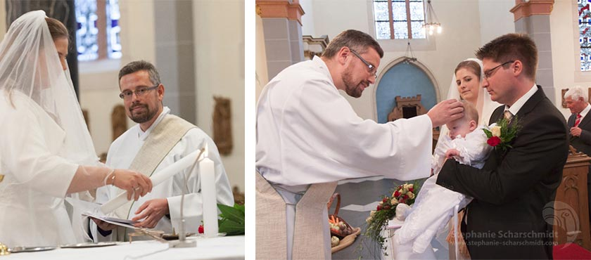 Hochzeitsfotos – Segnung eine Kindes in der Kirche – Hochzeitsfeier im Hotel Schloss Friedestrom, Zons, Dormage