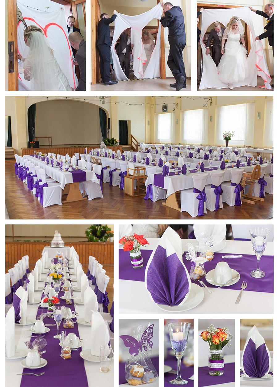 Hochzeitsdekoration in Lila , violette Hochzeit , Goldenen Löwe in Kürbitz (Weischlitz bei Plauen Hochzeitsfotograf Plauen im Vogtland – Hochzeits- und Portraitfotografin Stephanie Scharschmidt