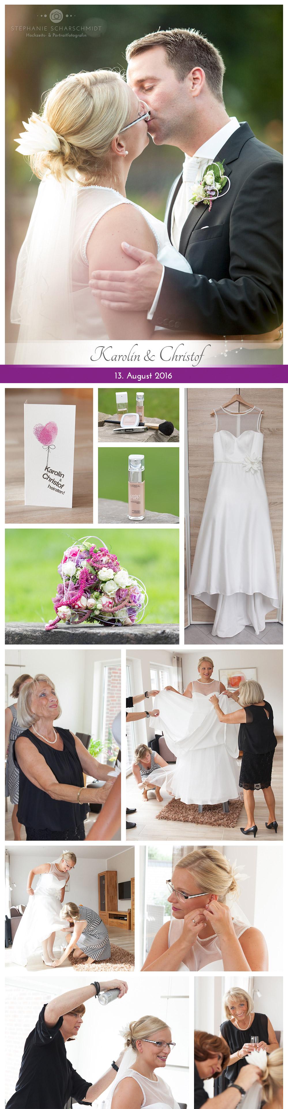 Getting Ready / Ankleide / Vorbereitung Ganztags-Hochzeitsreportage