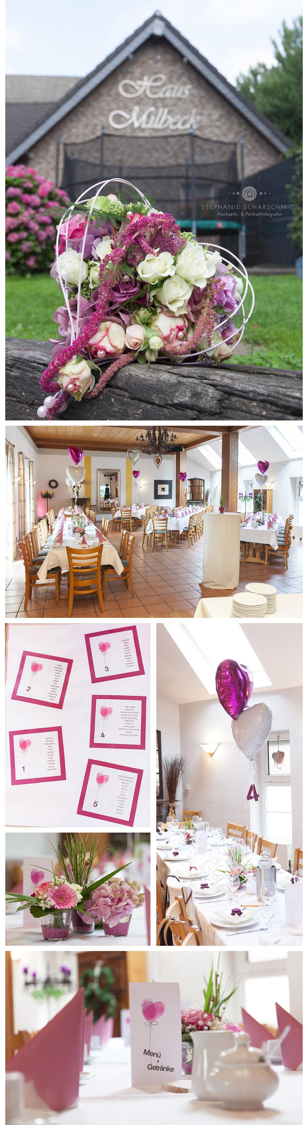 Hochzeitsdekoration in Pink