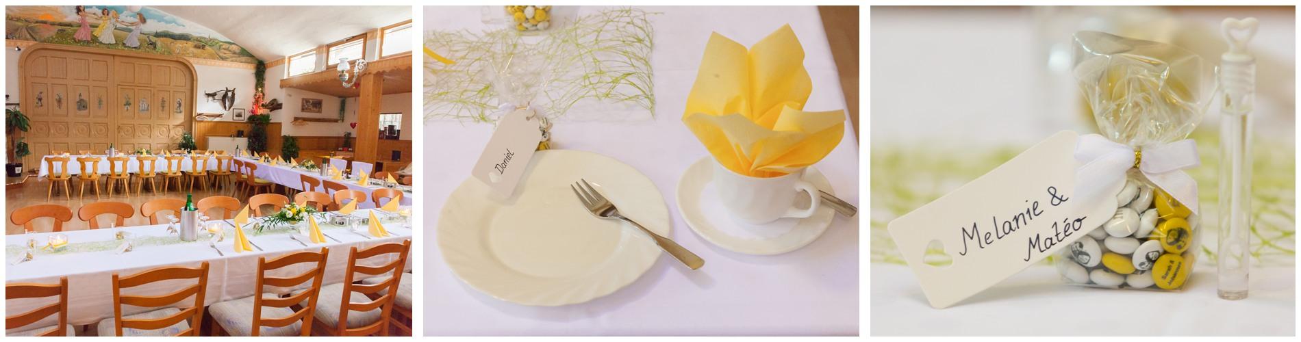 Gelbe Hochzeitsdekoration in Greiz