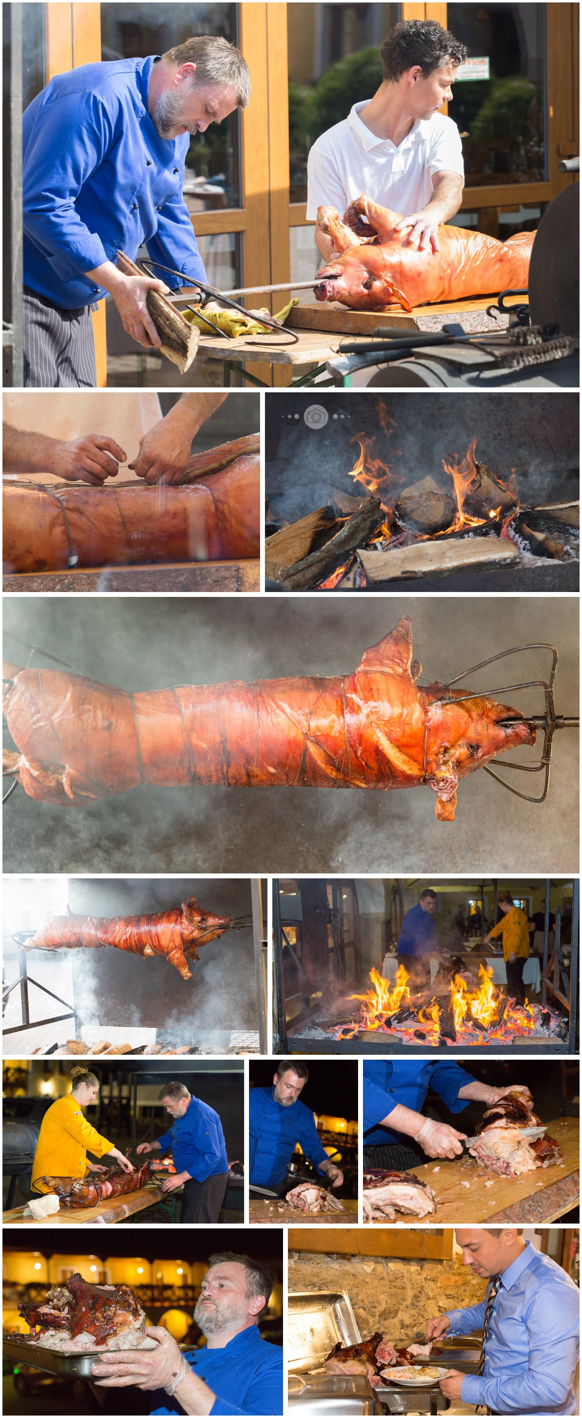 zubereitung eines geräucherten Schweines auf einer internationalen Hochzeit