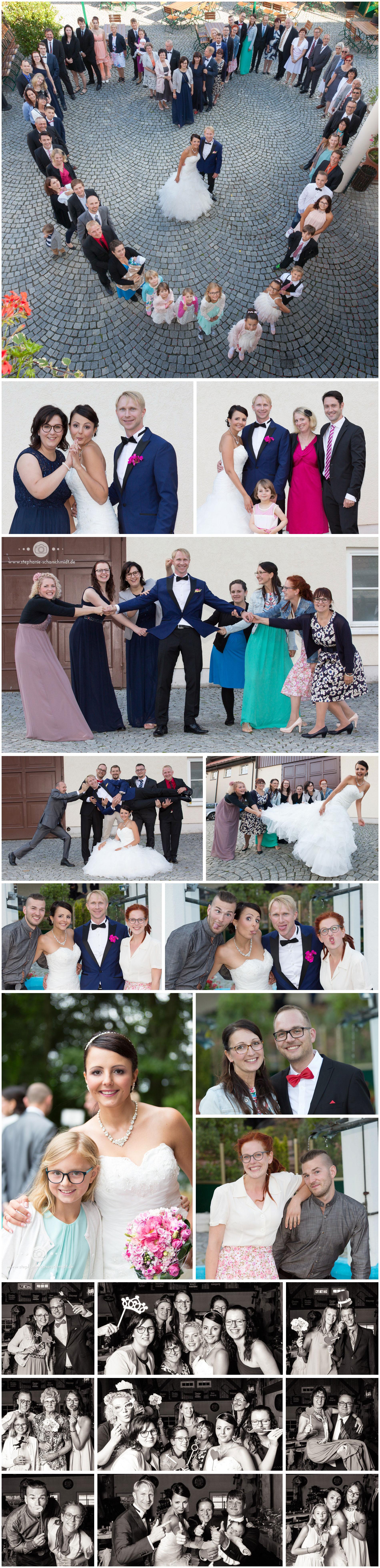 witzige Gruppenfotos auf Hochzeit Wernesgrün Brauerei - Hochzeitsfotograf Stephanie Scharschmidt
