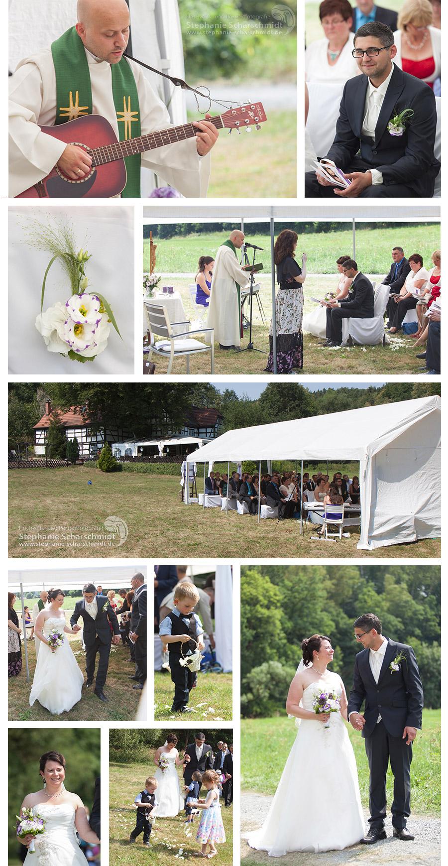 Kirchliche-Trauung-unter-freiem Himmel in der Pension und Restaurant Lochbauer in Plauen – Stephanie Scharschmidt Hochzeitsfotograf Plauen