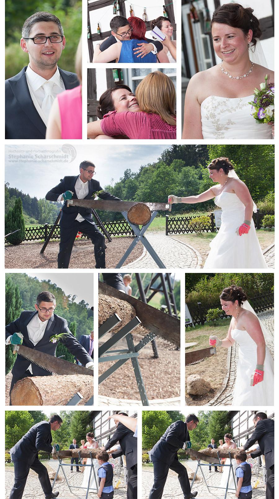 Baumstamm Sägen auf Hochzeit - Hochzeitsfotos Plauen im Vogtland – Hochzeitsfotograf in Plauen in der Pension und Restaurant Lochbauer in Plauen im Vogtland