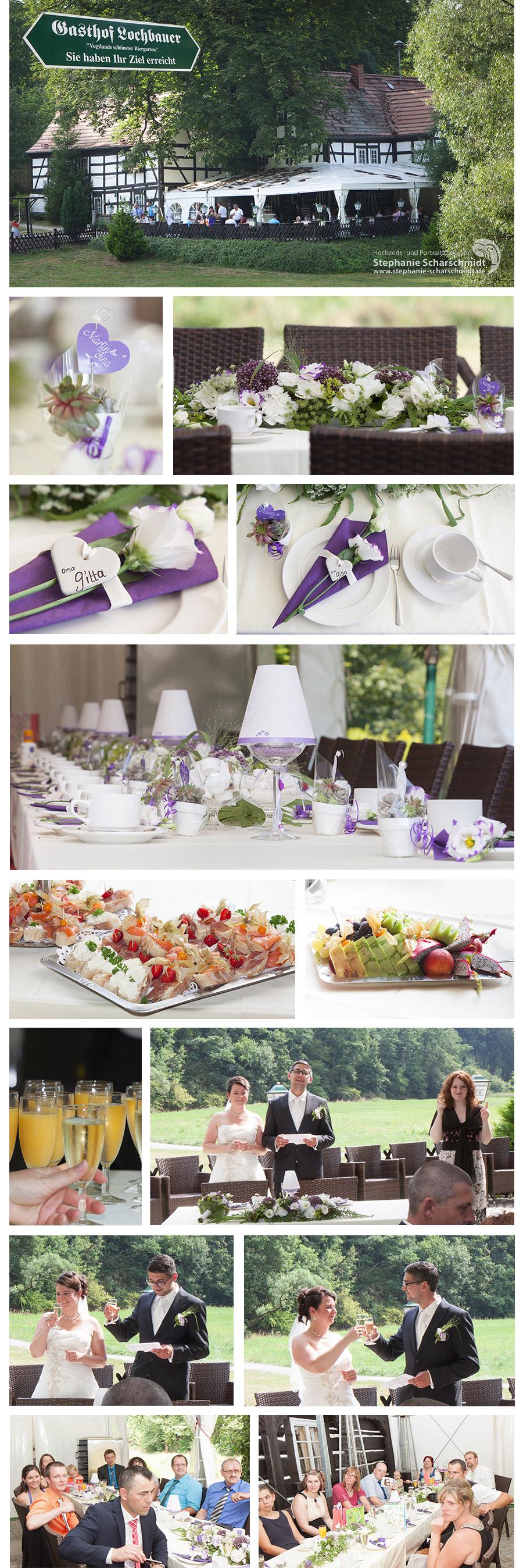 dezent Lila Weisse Tischdeko für Hochzeiten – Hochzeitstrends 2015 in der Pension und Restaurant Lochbauer in Plauen im Vogtland – Stephanie Scharschmidt Hochzeitsfotograf Plauen