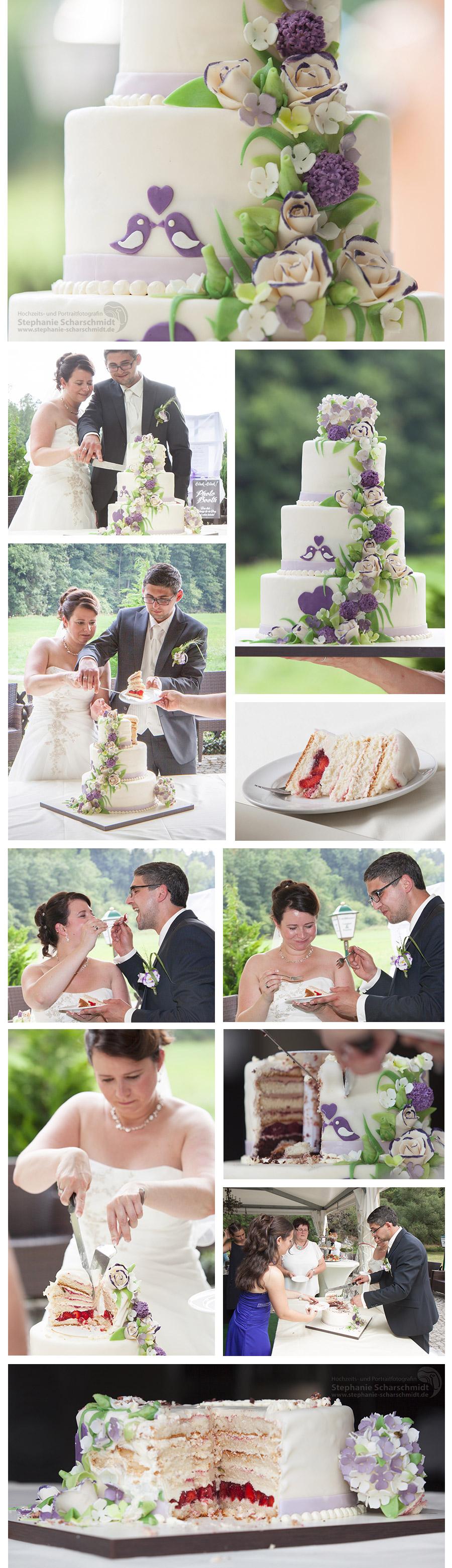 Lila Hochzeitstorte in Plauen mit Romantische Fögel Deko in der Pension und Restaurant Lochbauer in Plauen im Vogtland – Stephanie Scharschmidt Hochzeitsfotograf Plauen