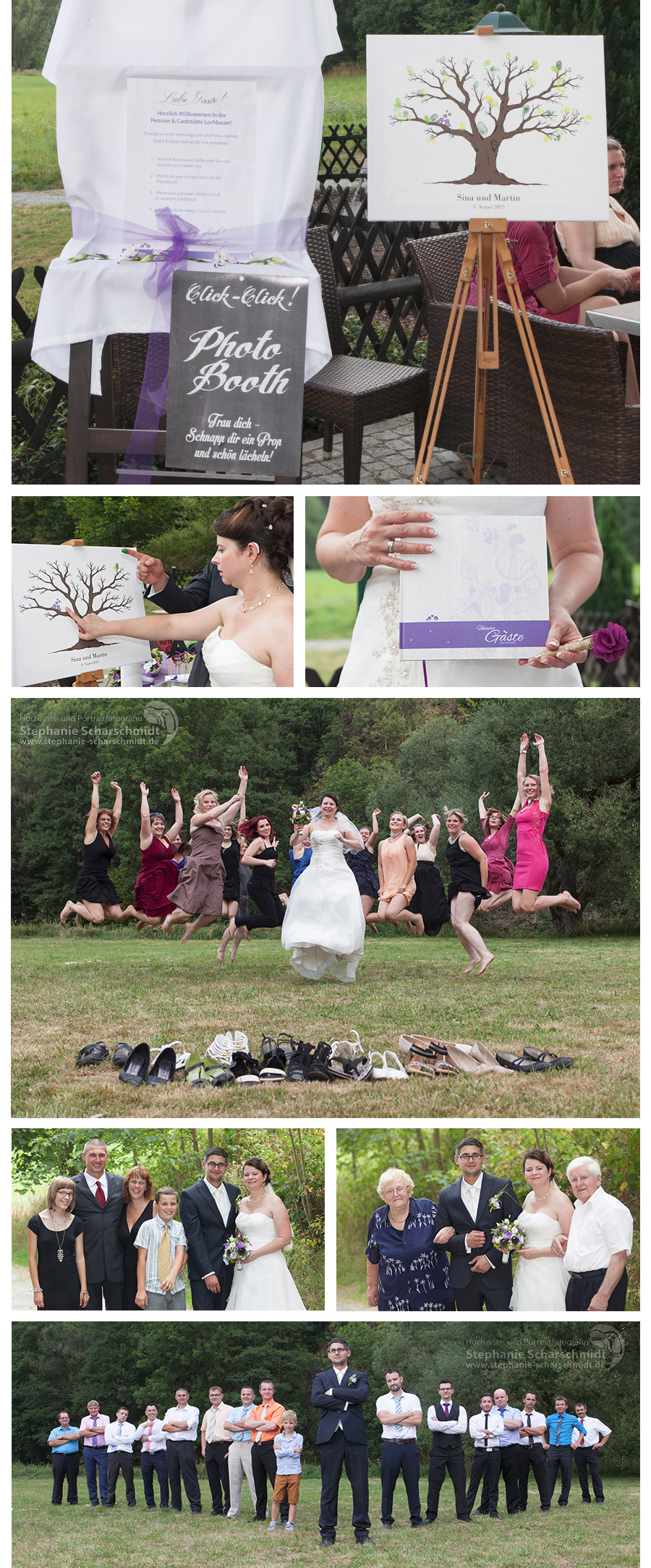 ausgefallene Gruppenfotos auf Hochzeit in der Pension und Restaurant Lochbauer in Plauen – Stephanie Scharschmidt Hochzeitsfotograf Plauen