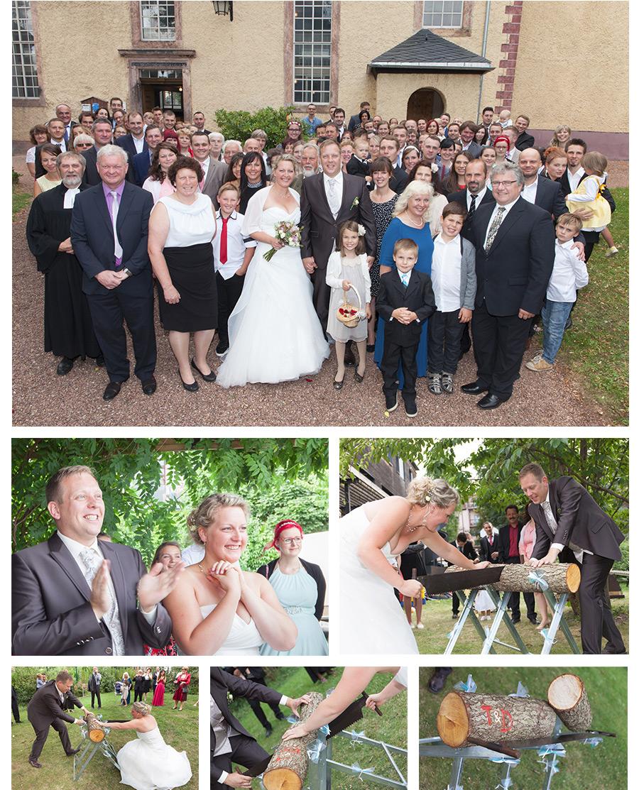 Baumstamm Sägen auf Hochzeit in Zwickau Sachsen- Hochzeitsfotograf-Zwickau-Stephanie-Scharschmidt