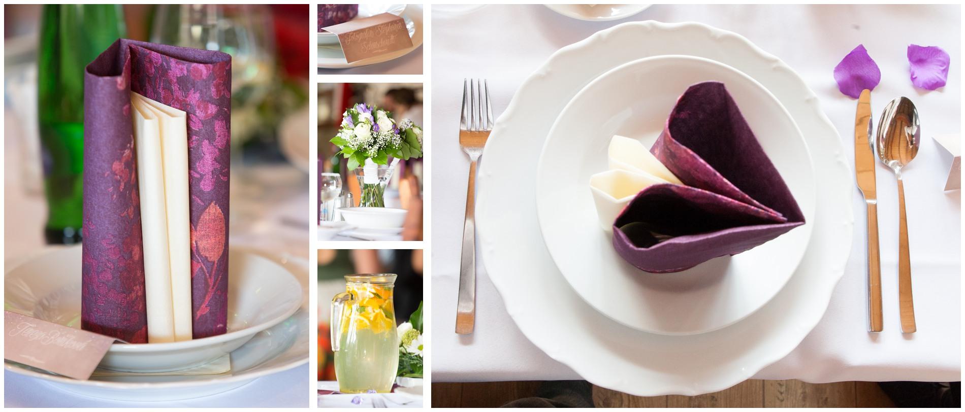 Tischdeko auf internationaler Hochzeit in Tschechien