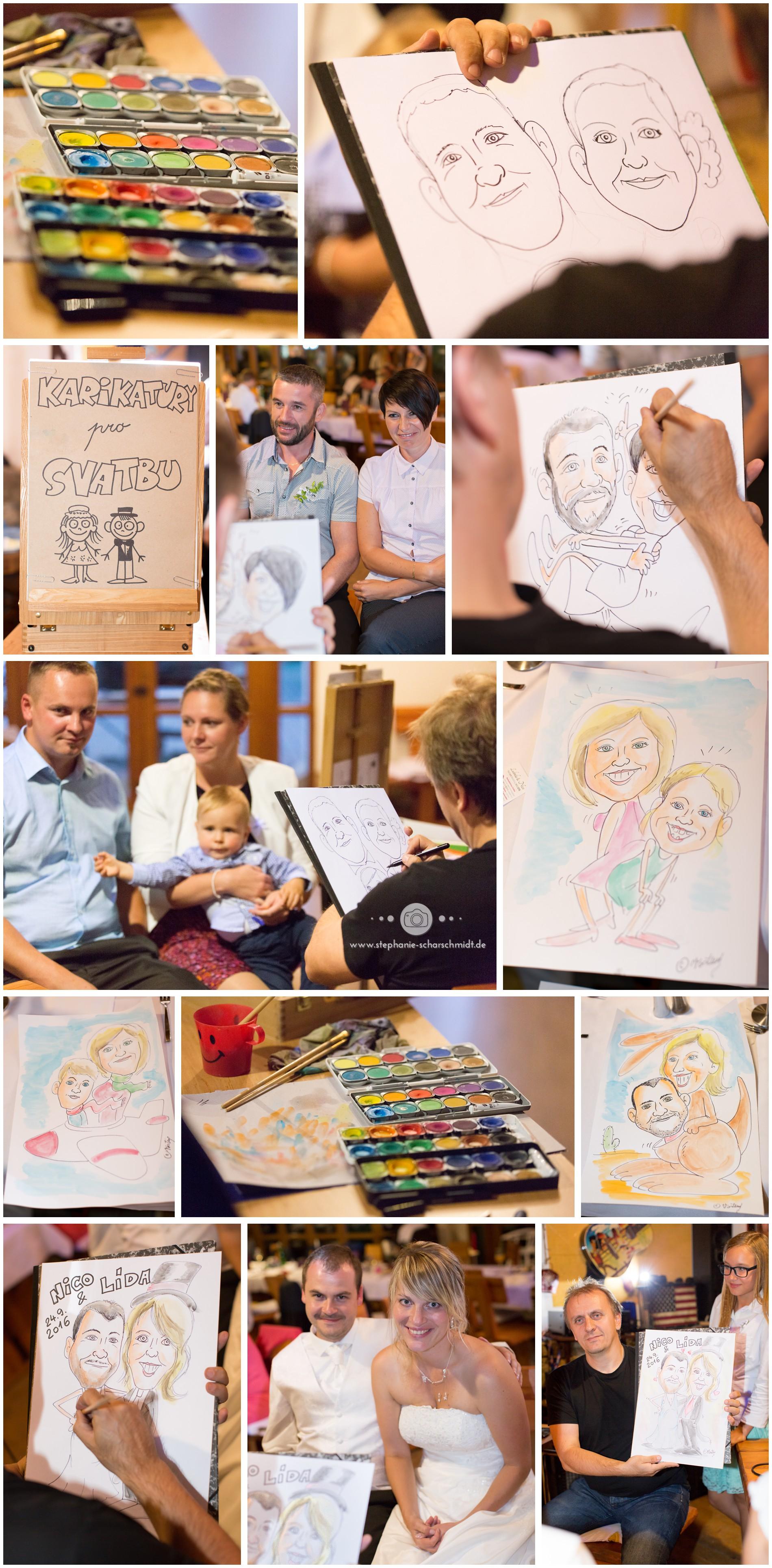 ein karikaturist auf einer internationalen Hochzeit